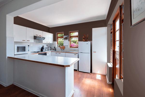 Pretty Photo frame on Rich Coffee color kitchen interior wall color