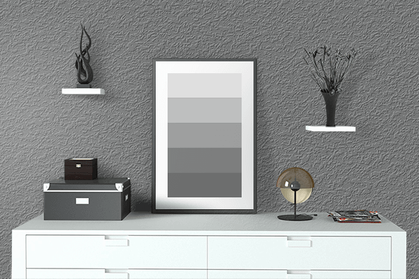 Pretty Photo frame on Power Gray color drawing room interior textured wall