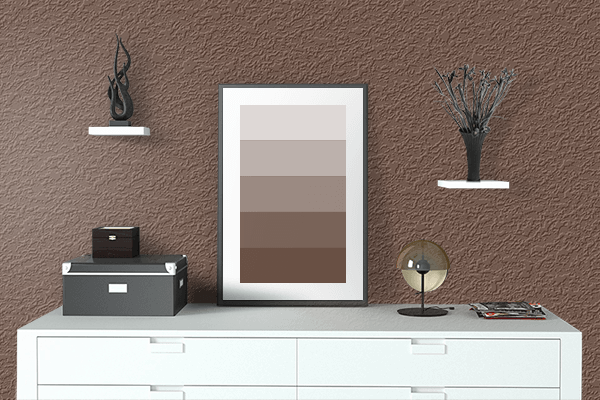 Pretty Photo frame on Oxford Brown color drawing room interior textured wall