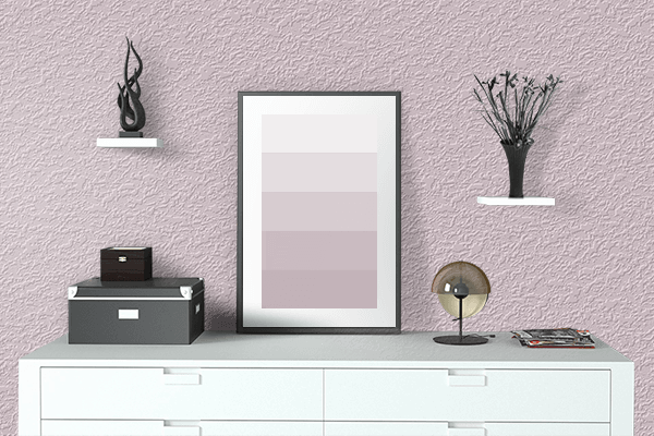 Pretty Photo frame on Soft Pale Pink color drawing room interior textured wall