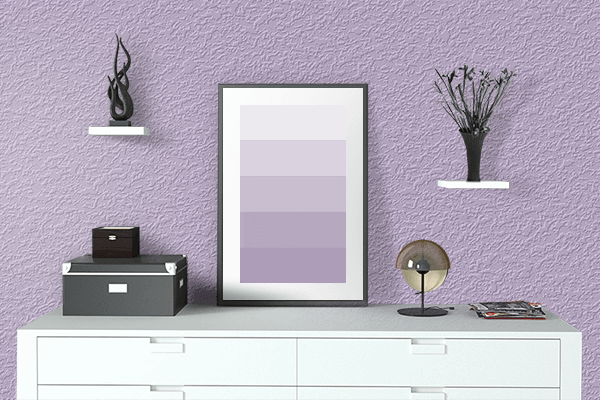 Pretty Photo frame on Mauve CMYK color drawing room interior textured wall