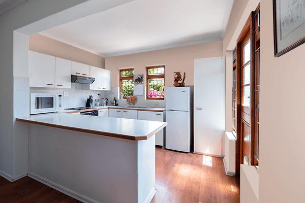 Pretty Photo frame on Cappuccino color kitchen interior wall color