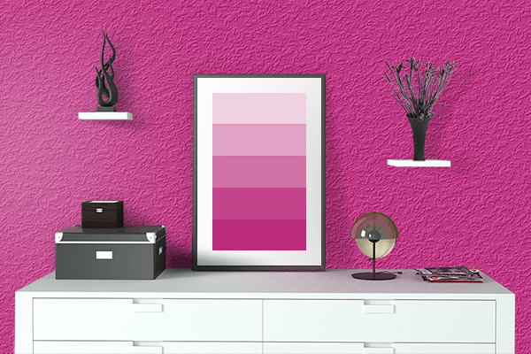 Pretty Photo frame on Barbie Pink color drawing room interior textured wall