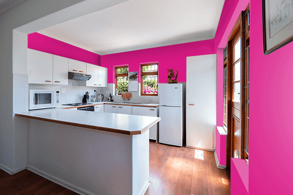 Pretty Photo frame on Barbie Pink color kitchen interior wall color