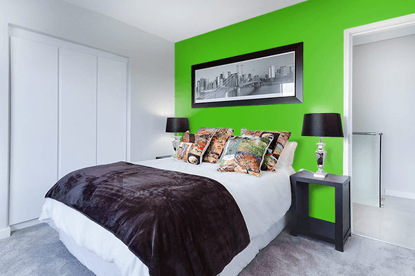 Pretty Photo frame on Kelly Green color Bedroom interior wall color