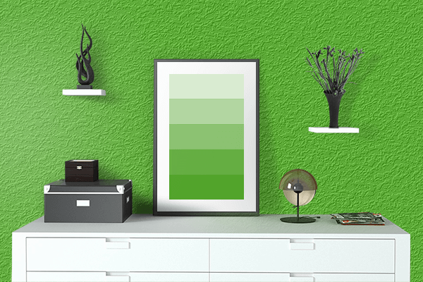 Pretty Photo frame on Kelly Green color drawing room interior textured wall