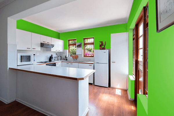 Pretty Photo frame on Kelly Green color kitchen interior wall color