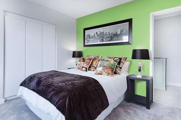 Pretty Photo frame on Pistachio color Bedroom interior wall color