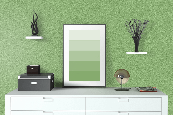 Pretty Photo frame on Pistachio color drawing room interior textured wall