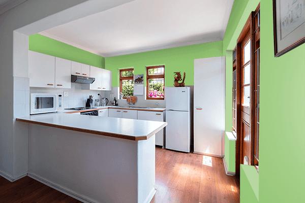 Pretty Photo frame on Pistachio color kitchen interior wall color