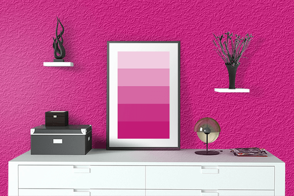 Pretty Photo frame on Mexican Pink color drawing room interior textured wall