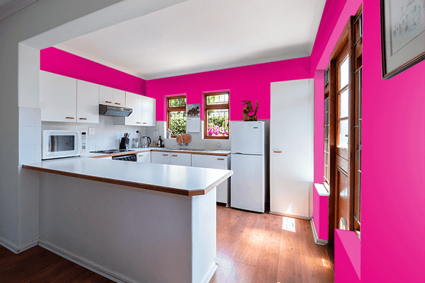 Pretty Photo frame on Mexican Pink color kitchen interior wall color