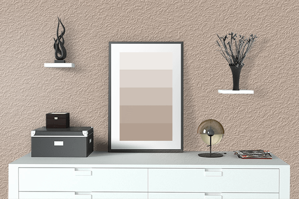 Pretty Photo frame on Spring Beige color drawing room interior textured wall
