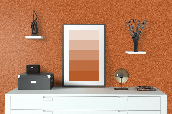 Pretty Photo frame on Persian Orange (RAL Design) color drawing room interior textured wall