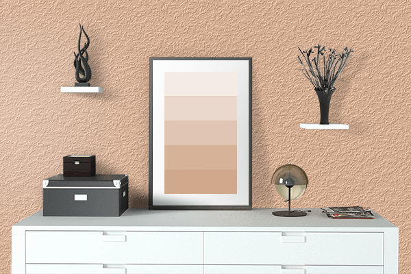 Pretty Photo frame on Cream Blush color drawing room interior textured wall