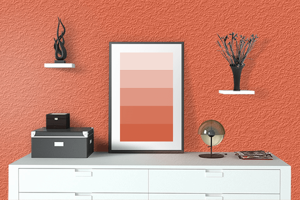 Pretty Photo frame on Vermillion Orange color drawing room interior textured wall