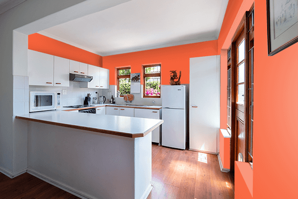 Pretty Photo frame on Vermillion Orange color kitchen interior wall color