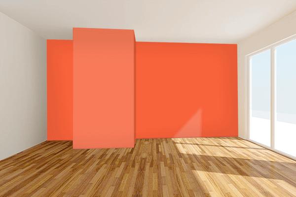 Pretty Photo frame on Vermillion Orange color Living room wal color