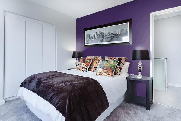 Pretty Photo frame on Violet Indigo color Bedroom interior wall color