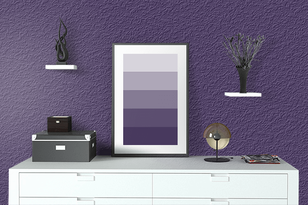 Pretty Photo frame on Violet Indigo color drawing room interior textured wall
