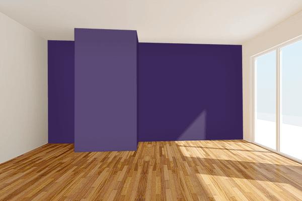 Pretty Photo frame on Violet Indigo color Living room wal color