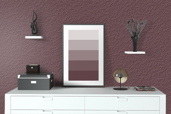 Pretty Photo frame on Red Mahogany color drawing room interior textured wall