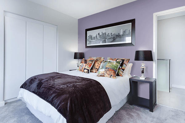 Pretty Photo frame on Antique Viola color Bedroom interior wall color