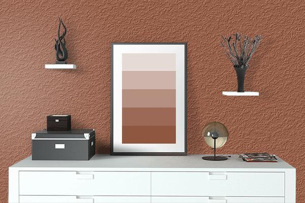 Pretty Photo frame on 代赭色 (Taisha-iro) color drawing room interior textured wall