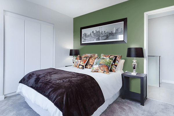 Pretty Photo frame on Vineyard Green color Bedroom interior wall color