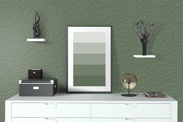 Pretty Photo frame on Vineyard Green color drawing room interior textured wall