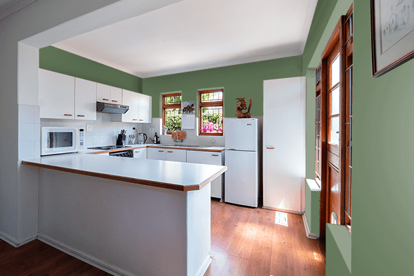 Pretty Photo frame on Vineyard Green color kitchen interior wall color