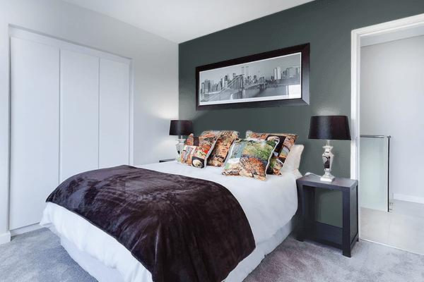 Pretty Photo frame on Panda Black color Bedroom interior wall color