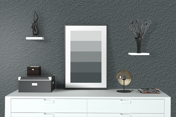 Pretty Photo frame on Panda Black color drawing room interior textured wall