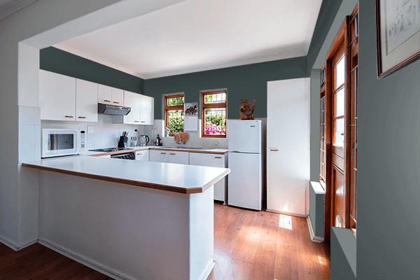 Pretty Photo frame on Panda Black color kitchen interior wall color