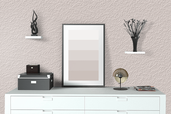 Pretty Photo frame on Sahara Light Red color drawing room interior textured wall