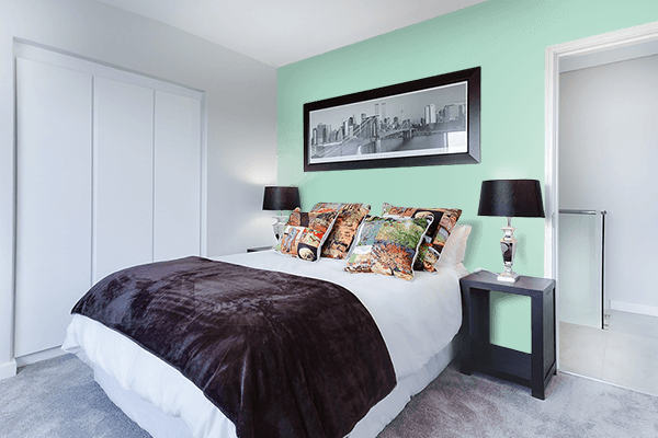 Pretty Photo frame on Wintergreen Mint color Bedroom interior wall color