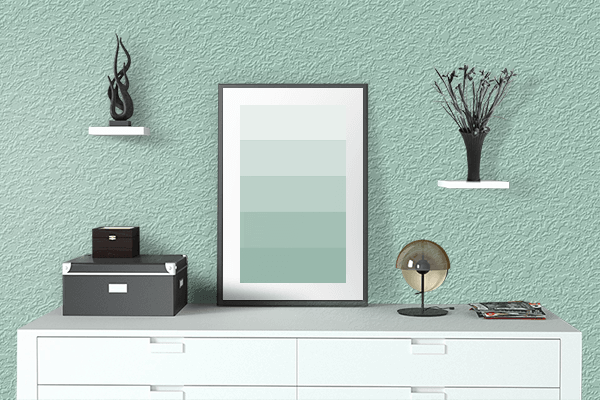 Pretty Photo frame on Wintergreen Mint color drawing room interior textured wall
