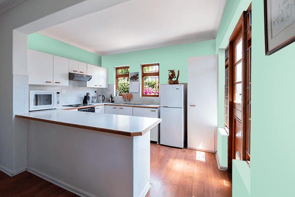 Pretty Photo frame on Wintergreen Mint color kitchen interior wall color