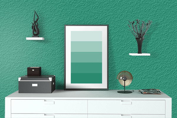 Pretty Photo frame on Dark Mint color drawing room interior textured wall