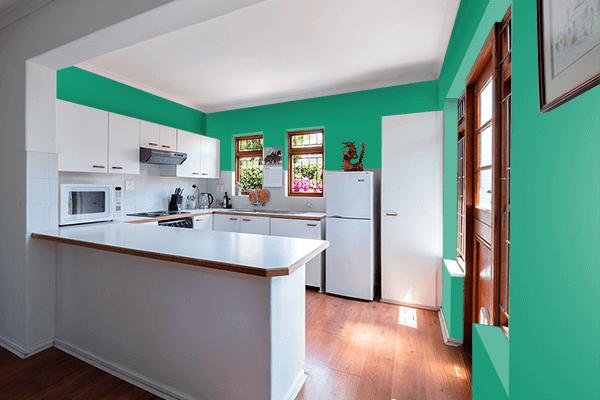 Pretty Photo frame on Dark Mint color kitchen interior wall color