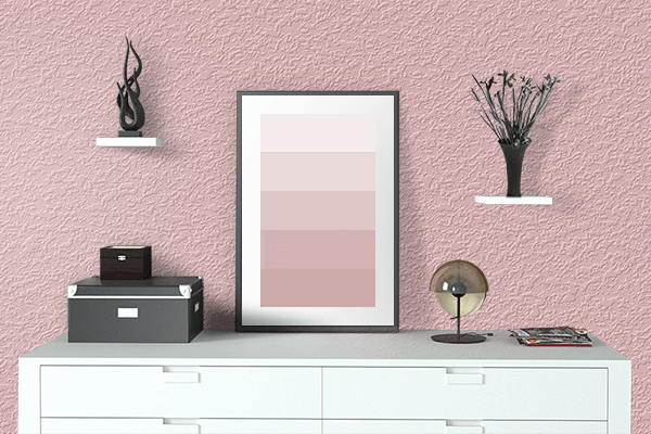 Pretty Photo frame on Strawberry Cream color drawing room interior textured wall