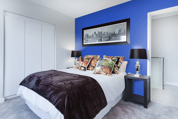 Pretty Photo frame on Cerulean Blue color Bedroom interior wall color