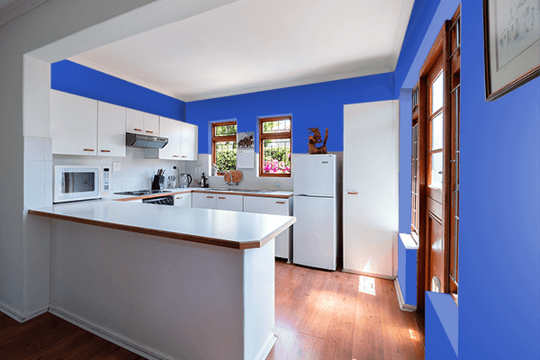 Pretty Photo frame on Cerulean Blue color kitchen interior wall color