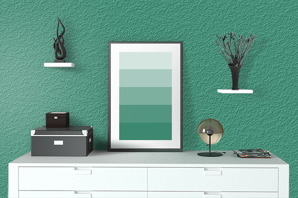 Pretty Photo frame on Wintergreen color drawing room interior textured wall