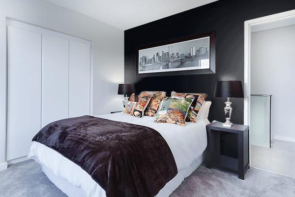 Pretty Photo frame on Ink Black color Bedroom interior wall color
