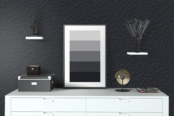 Pretty Photo frame on Ink Black color drawing room interior textured wall