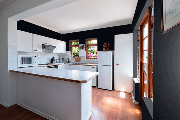 Pretty Photo frame on Ink Black color kitchen interior wall color