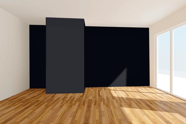 Pretty Photo frame on Ink Black color Living room wal color