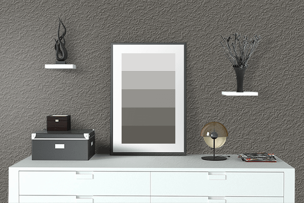 Pretty Photo frame on Black Pepper color drawing room interior textured wall