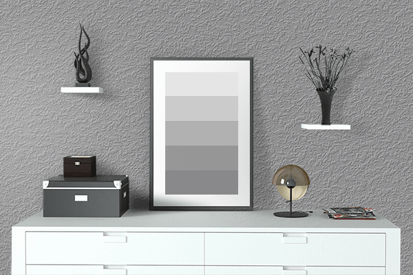 Pretty Photo frame on Formal Gray color drawing room interior textured wall
